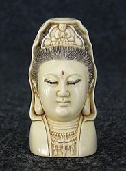 Fine vintage Japanese Ivory Kwan-Yin Netsuke with exceptional detail